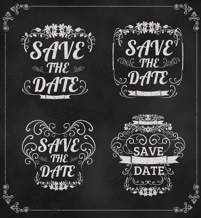 set of vector Save The Date Wedding invitation Card On Blackboard With Chalk vector format