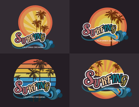 rescue west: Set of California surf typography, t-shirt graphics , vector format Illustration