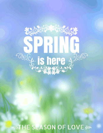 season: Spring Is Here Typographical Background blur vector format eps 10 Illustration