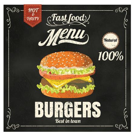 hamburguesa: Men� del restaurante Fast food hamburguesa en formato vectorial pizarra eps10