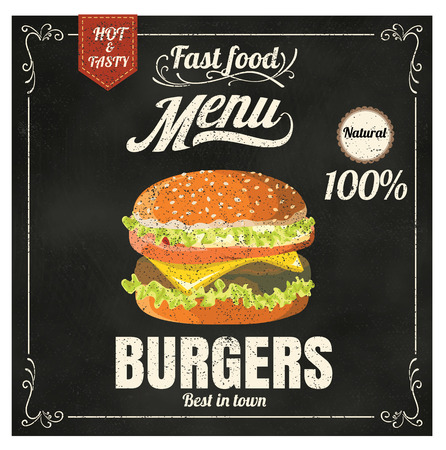 chalk drawing: Restaurant Fast Foods menu burger on chalkboard vector format eps10