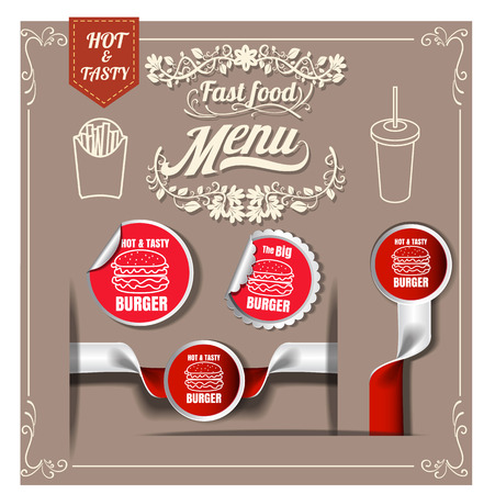 10 best: Best Hot Burgers; stickers pack.fast foodmenu restaurant design vector format eps 10
