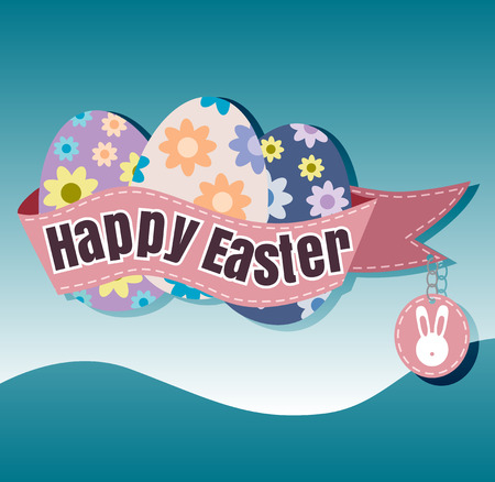 Happy Easter Typographical blur Background vector format eps 10 Illusztráció