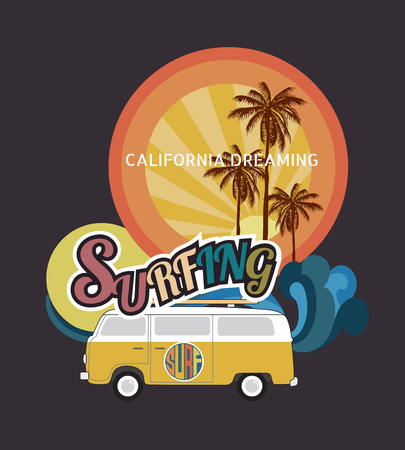 rescue west: Set of California surf typography, t-shirt graphics , vector format eps10 Illustration