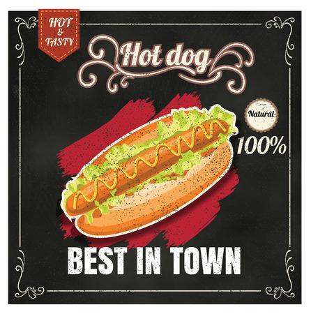 hotdog: Restaurant Fast Foods menu hotdog on chalkboard vector format eps10