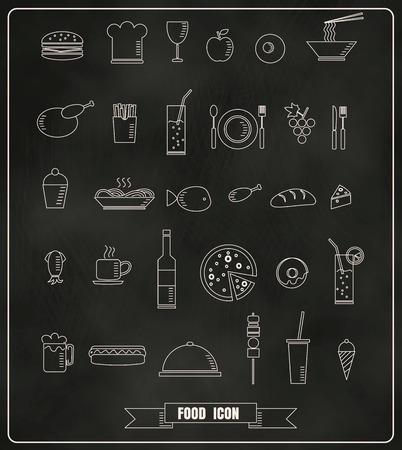 Ristorante elementi di design menù con la linea di cibi e bevande icone gesso disegnata sulla lavagna formato vettoriale eps10 Archivio Fotografico - 38680495