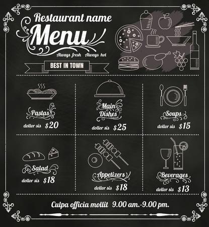 menu de postres: Diseño del menú del restaurante de Alimentos con el fondo de la pizarra formato vectorial eps10