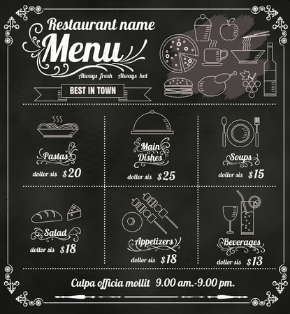 menu icon: Restaurant Food Menu Design with Chalkboard Background vector format eps10