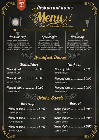 黒板の背景を持つレストラン フード メニュー デザイン  イラスト・ベクター素材
