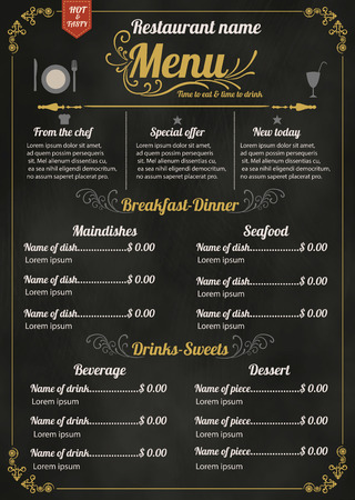 blackboard background: Restaurant Food Menu Design with Chalkboard Background Illustration