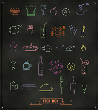 Restaurant menu design elements with chalk drawn food and drink icons line on blackboard