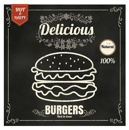 Restaurant Fast Foods menu burger on chalkboard