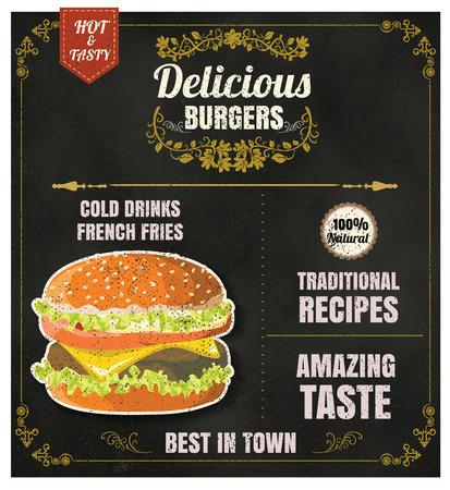 Restaurant Fast Foods menu burger on chalkboard