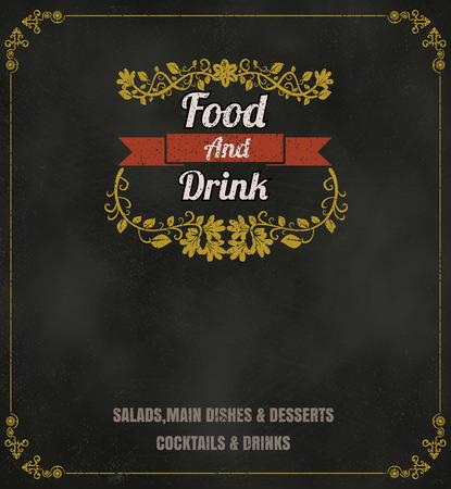 menu de postres: Antecedentes de la vendimia Diseño tipográfico de la pizarra formato vectorial restaurante menú de comida eps10