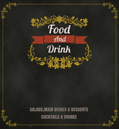 menu icon: Restaurant Food Menu Vintage Typographic Design Chalkboard Background vector format eps10