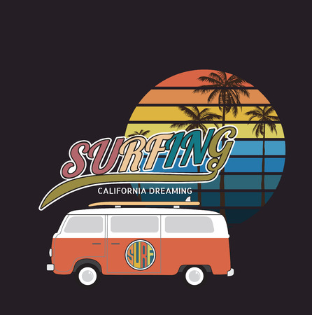 rescue west: California surf typography, t-shirt graphics  Illustration