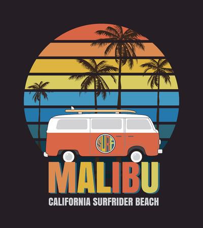 Malibu surf typography, t-shirt graphics Vettoriali