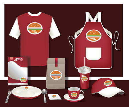 Vector restaurant café set flyer, menu, pakket, t-shirt, cap, uniforme inrichting  indeling set van corporate identity omhoog bespotten template.