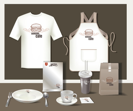 Restaurant hamburgers cafe ingesteld flyer, menu, verpakking, t-shirt, cup, uniform ontwerp  lay-out set van corporate identity template.vector formaat eps 10