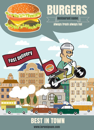 fast delivery: Brochure or poster Restaurant fast foods burger menu with man to fast delivery cartoon illustration vector format eps10