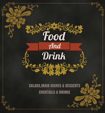 Restaurant Food Menu Vintage Typographic Design Chalkboard Background  Ilustracja