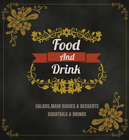 Restaurant Food Menu Vintage Typographic Design Chalkboard Background  Vettoriali