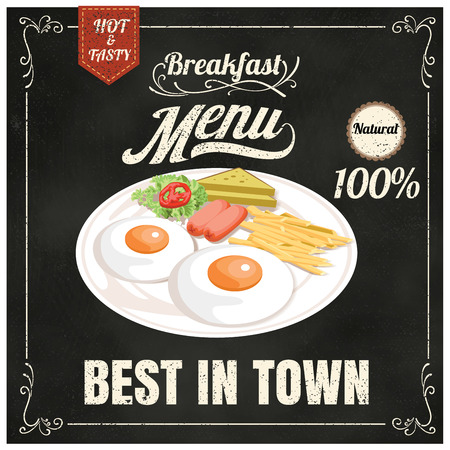 continental food: Vintage Poster. Breakfast menu. Set on the chalkboard.Design in retro style Illustration
