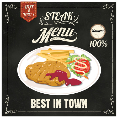 plate: Vintage Poster.steak menu. Set on the chalkboard.Design in retro style