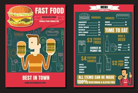 Brochure or poster Restaurant fast foods burger menu with people  Vector