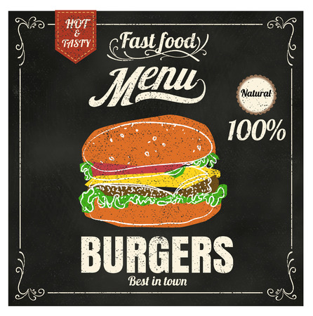 Restaurant Fast Foods menu burger on chalkboard vector format