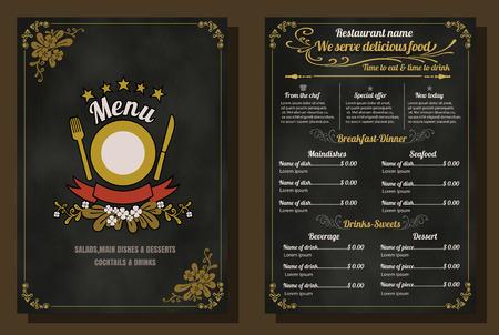 Ristorante Menu Food Design Vintage con sfondo lavagna formato vettoriale eps10 Archivio Fotografico - 40391848