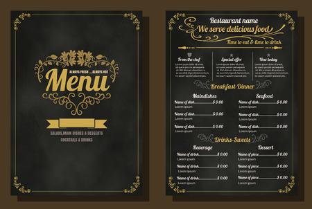 menu de postres: Restaurant Menu Alimentos Dise�o vintage con el fondo de la pizarra formato vectorial eps10