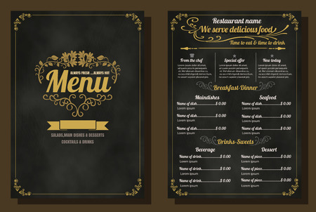 Restaurant Food Menu Vintage Design with Chalkboard Background vector format eps10 Vettoriali
