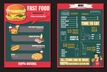Brochure or poster Restaurant fast foods menu with people vector format  Ilustracja