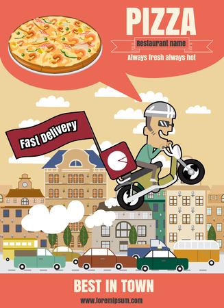 Brochure of poster Restaurant fastfood pizza menu met mensen vector-formaat Stock Illustratie