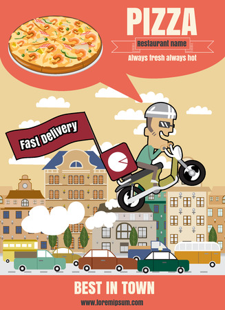 flyer background: Brochure or poster Restaurant fast foods pizza menu with people vector format  Illustration