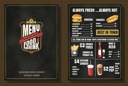 Restaurant Menu Alimentos Diseño vintage con el fondo de la pizarra formato vectorial eps10