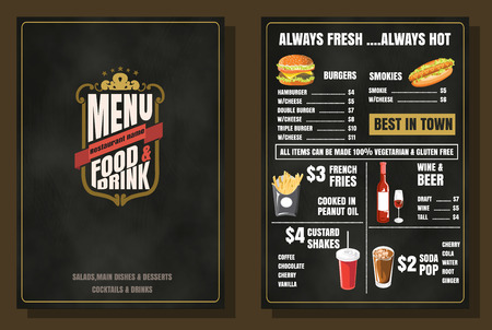 Restaurant Food Menu Vintage Design with Chalkboard Background vector format eps10 Vettoriali