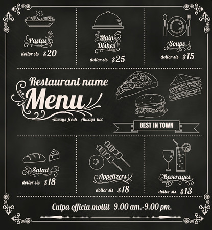 Restaurant Food Menu Design with Chalkboard Background vector format  Иллюстрация