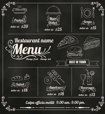 Restaurant Food Menu Design with Chalkboard Background vector format  Illustration