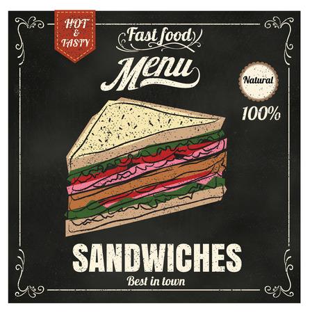 bocadillo: Menú del restaurante Fast food sándwich en formato vectorial pizarra eps10