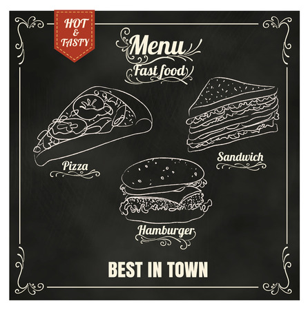 Restaurant Fast Foods menu on chalkboard vector format eps10
