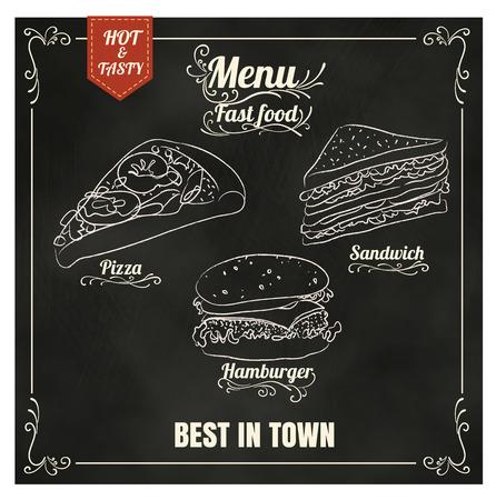 Ristorante menù Fast food sul formato lavagna vettoriale eps10 Archivio Fotografico - 40929071