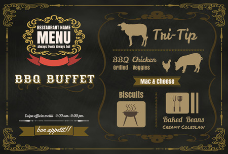 Vintage BBQ party menu poster design with  meat, beef. chicken ,pork vector format eps10 Ilustração