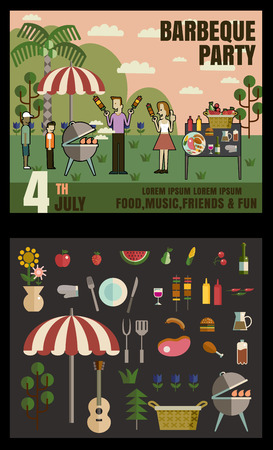 party: Barbecue party invitation. BBQ template menu design. Food flyer.vector format  Illustration