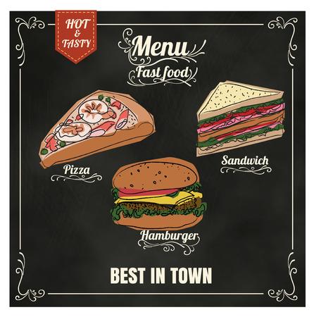 Ristorante menù Fast food sul formato lavagna vettoriale eps10 Archivio Fotografico - 41818868