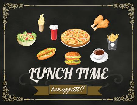 Lunch menu design vintage on chalkboard restaurant design vector format eps 10