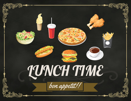 Lunch menu design vintage on chalkboard restaurant design vector format eps 10