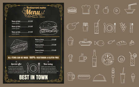 menu: Restaurant Fast Foods menu on chalkboard vector format eps10