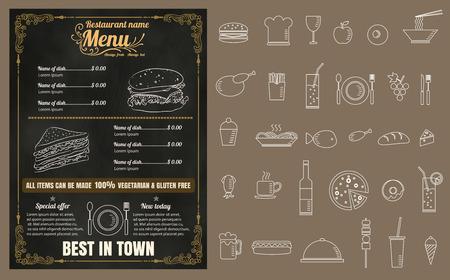 speisekarte: Restaurant Schnell Erfrischungen Men� auf Tafel Vektor-Format eps10
